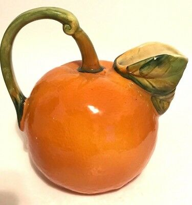Vintage Lord & Taylor Figural Orange Shaped Art Pottery Juice Pitcher ~ Italy