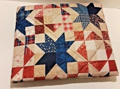 "Brand New Red White Blue Quilted Cotton Stars Americana Throw Blanket 44""x 57"""