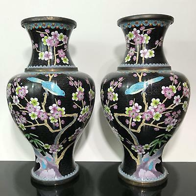 Vtg 2pc LARGE Chinese Export Brass Black Floral Cherry Blossom Cloisonné Vases