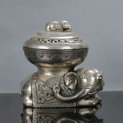Cupronickel  Handwork Elephant Shape Lid Incense Burners Qianlong Mark