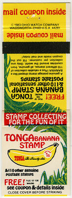 Matchbook - Stamps on Approval - Tonga Banana Stamp - H.E. Harris Co