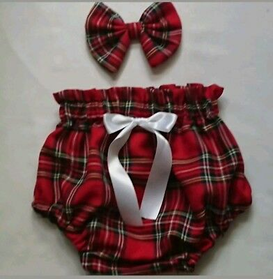 Beautiful Tartan Print Baby's Bloomer and bow set girls clothes New