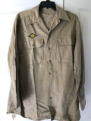 WW2 US ARMY AIR CORPS KHAKI SHIRT & PATCHES 15 1/2 -33 Name On Collar
