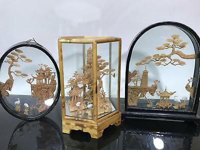 Vtg Lot of Chinese Carved Cork Scenic Landscape Figural Art Decor