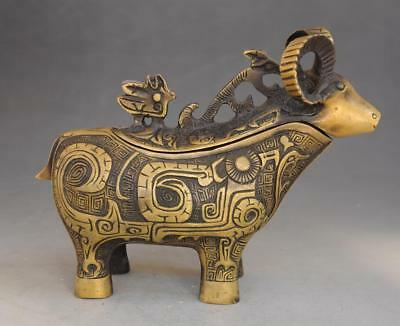 chinese old fengshui pure copper hand-carve sheep statue incense burner d02