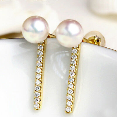 Solid 14k Yellow Gold Natural Diamonds Stud Earrings 3.5mm Freshwater Pearl