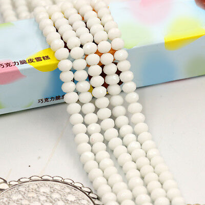 Shiny White 6MM 49PCS Faceted Bicone Rondelle Crystal Crafts Grass Spacer Beads