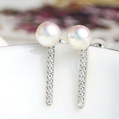 Solid 14k White Gold Natural Diamonds Stud Earrings 3.5mm Freshwater Pearl