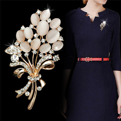 Hot Vintage Rhinestone Crystal Wedding Bridal Bouquet Flower Pearl Brooch Pin RS