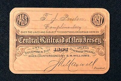Rare 1897 Central Railroad of New Jersey ~ Train ~ Pass / Ticket