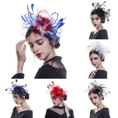 Women's Charm Mesh Feathers Fascinator Hair Clip Hat Headband Wedding Prom Party