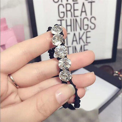 Women Girl's Crystal Beads Elastic Hair Rope Hairband Hair Ring Hair Accessories