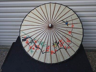 Vintage Asian Chinese Japanese Umbrella Bamboo Rice Paper Parasol with Birds