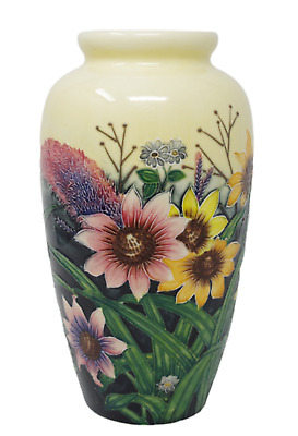 "Vase Old Tupton Ware 1132 11"" Hand Made Painted Summer Bouquet Floral Ex Lg New"