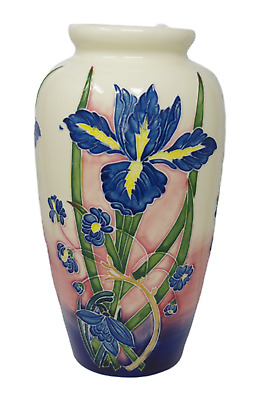 "Blue Iris Vase Old Tupton Ware 1738 11"" Hand Made Painted Floral Ex Lg New"