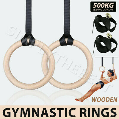 Wooden Gymnastic Olympic Ring Gym Rings Strength Training Sport Fitness Exercise