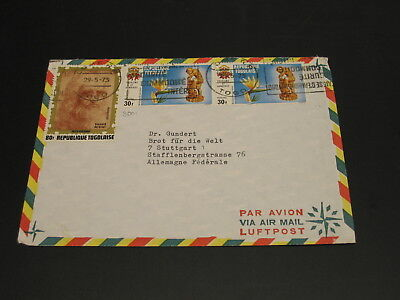 Togo 1973 airmail cover to Germany 30f satmp fault *3061