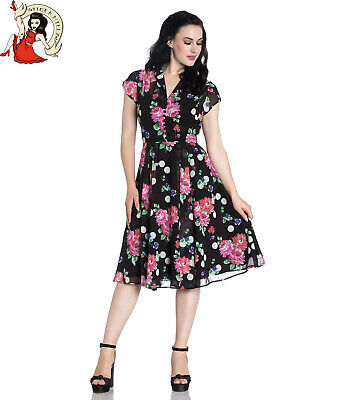 7454e301e4a6 HELL BUNNY BLOOMSBURY collarette POLKA dot FLORAL 40s style CHIFFON tea  DRESS