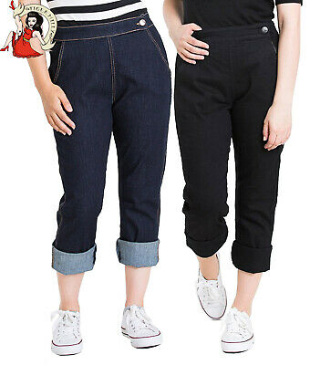 Hell Bunny CHARLIE Denim Vintage HIGH WAIST 50s Jeans CAPRI Hose Plus Rockabilly