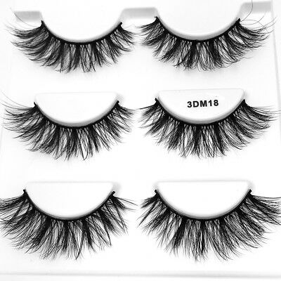 SKONHED 3 Pairs Soft 3D Mink Hair Natural Wispy Long Lashes Eye Lashes Make Up