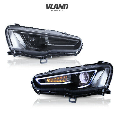 Audi Style Headlights For Mitsubishi Lancer Evox 2008-17 All Black Set Car Light