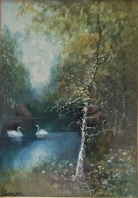 H Sinclair original old vintage painting Henley on Thames England listed artist