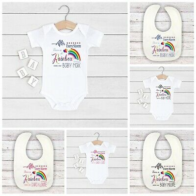 (L-1) Peggys after every storm rainbow of hope here i bib  baby boys gift