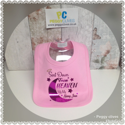 (v-2) sent down from heaven by my ? any name baby personalised baby girls bib