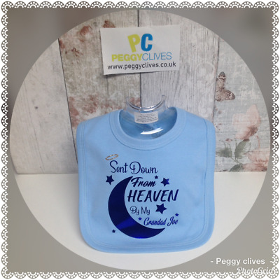 (V-2)  sent down from heaven by my? any name personalised baby boy bib muslin