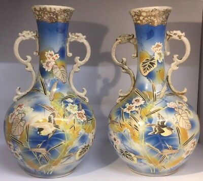PAIR of Antique Japanese Meiji Period Export Vases, Birds, Hand Painted  c1880