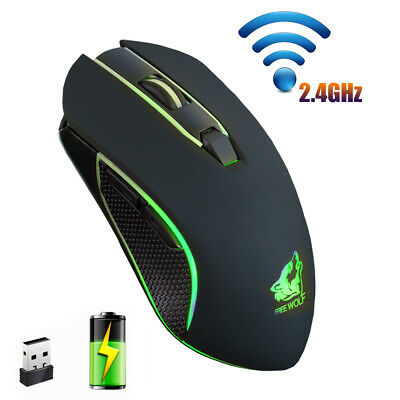 2.4G Wireless Mouse Rechargeable Silent LED Backlit USB Optical Gaming Mice New