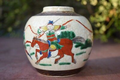 Chinese Export Ceramic Jar Crackle Glaze Hand-Painted Warrior Scene, Late Qing