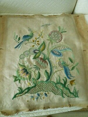 Large Vintage Crewel Work  Panel Jacobean Style Embroidery Wool On Linen