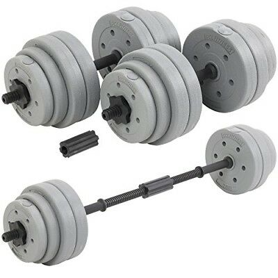 BESt 30Kg Adjustable Weight Lifting Dumbbell Barbell Bar Weights Set NEW Silver