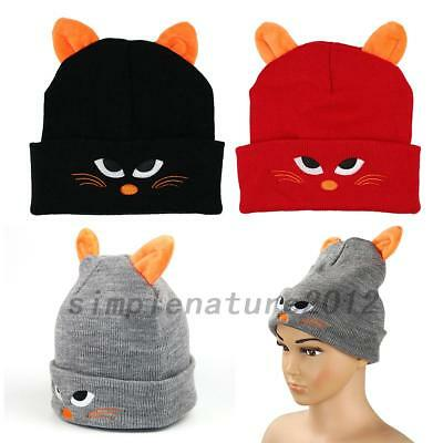 NEW Pullover Cap Children Cartoon Cat Embroidery Knit Hat Creative Cat Ears