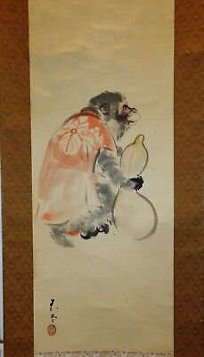 Japanese watercolor painting scroll legend of macaque monkey stealing wine
