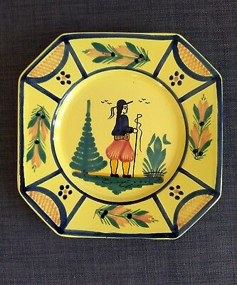 "H.B. QUIMPER Plate France Octagon Breton Girl Fishing 7.75"" Yellow"