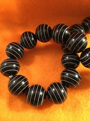 Retro Mod Vintage Jewellery Black White Beads Necklace Rockabilly Pinup Jewelry