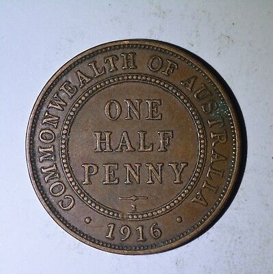 1916 Australian Half Penny - Eight Pearls  - Extremely Fine.
