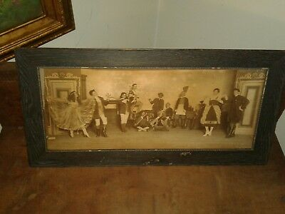 Antique framed picture of play or stage show