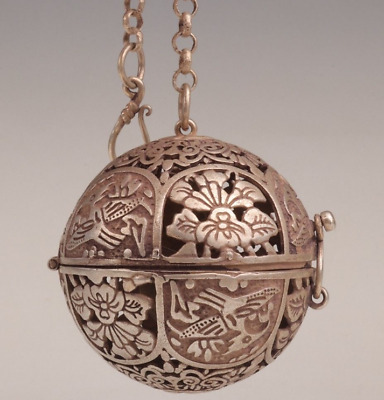 Antique Tibetan Silver Pendant Old Ball Incense Burner Hollowed-out Flowers B02