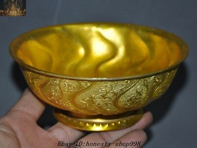 "5"" Old Chinese Dynasty Palace Bronze Gilt 24K Gold Flower Bird bowl Bowls Cup"