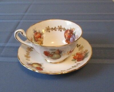 Royal Chelsea Cup & Saucer White With Groups Of Fruit