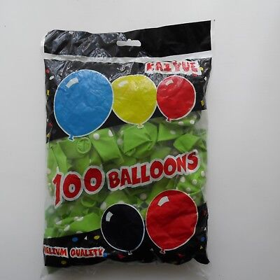 """100 x Lime Green 12"""" LATEX POLKA DOT BALLOONS - Can be Filled With Helium or Air"""