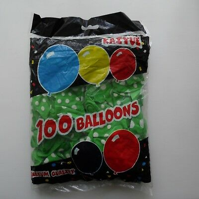 """100 x  Green 12"""" LATEX POLKA DOT BALLOONS - Can be Filled With Helium or Air"""