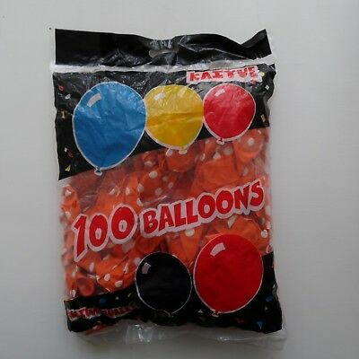 "100 x Orange 12"" LATEX POLKA DOT BALLOONS - Can be Filled With Helium or Air"