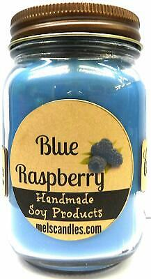 Mels Candles and More Blue Raspberry 16oz Country Jar Handmade Soy Candle Made i