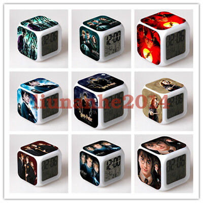 Harry Potter Series Alarm Clock Color Changing LED Night Watch Student Gift