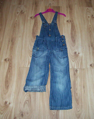 GIRLS NEXT DENIM DUNGAREES Age 7, Denim Blue turn up legs or full length