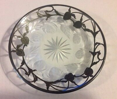 Beautiful Antique Vintage Strawberry Cut Etched Design W/ Silver Overlay Dish